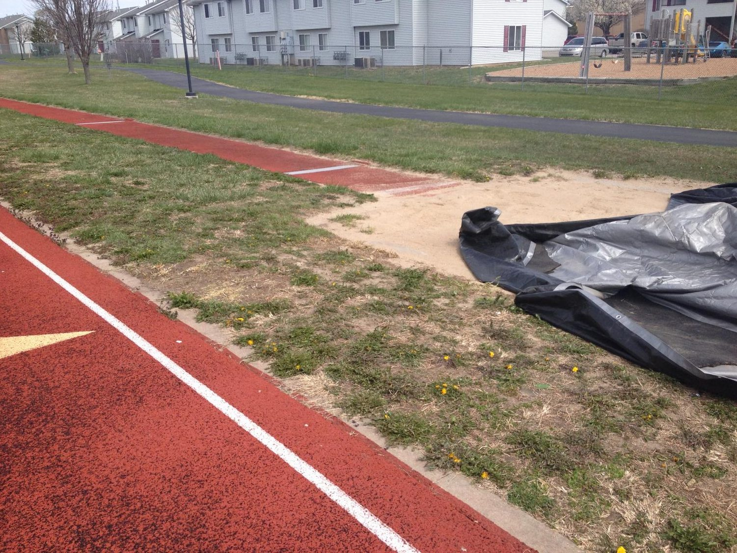 The long jump pit at the EMS track.