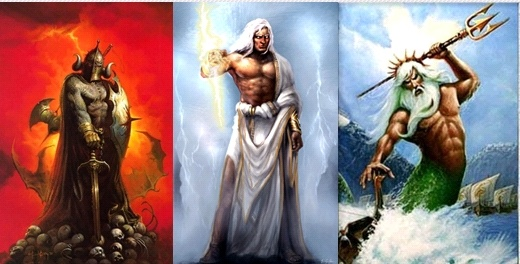 Hades, Zeus, and Poseidon the three rulers of the world