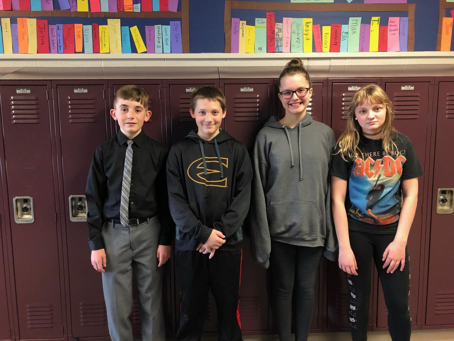 A couple of 7th grade students dressed for blackout day