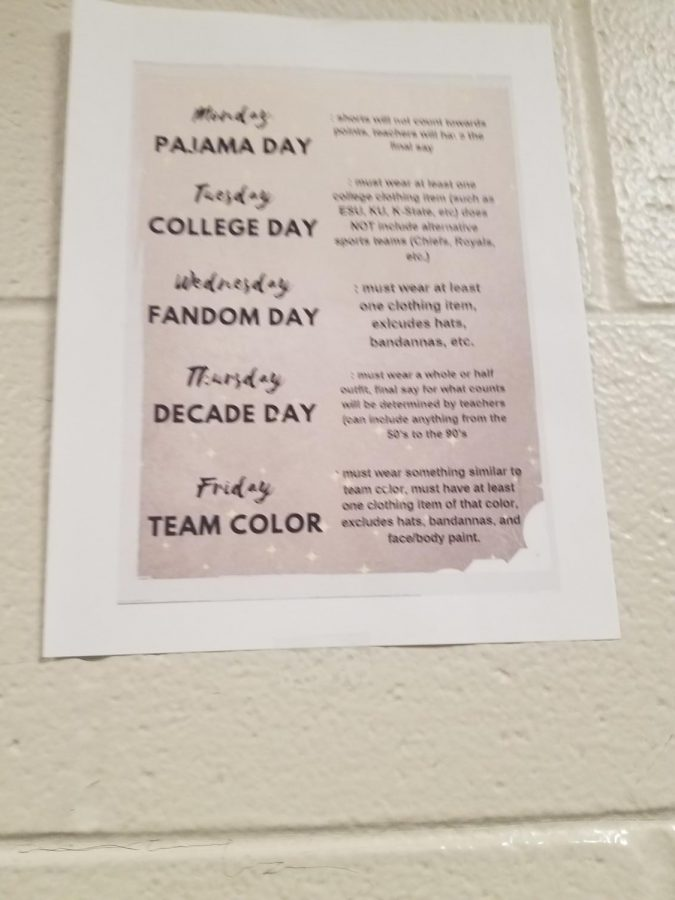 These are all the Spirit Days and what we are supposed to do to support our team.