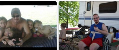 The first picture is my dad before the car accented. The second is him after.