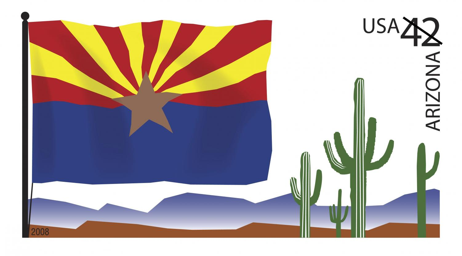 This is a picture of the Arizona flag with cacti and mountains in the background.