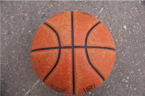 A basketball on cement