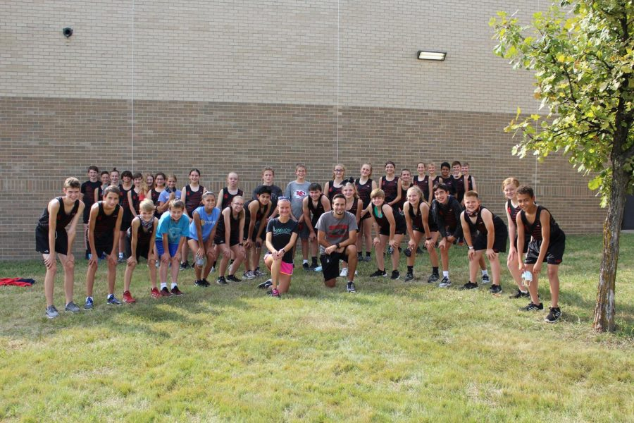 The EMS Cross Country Team before practice.