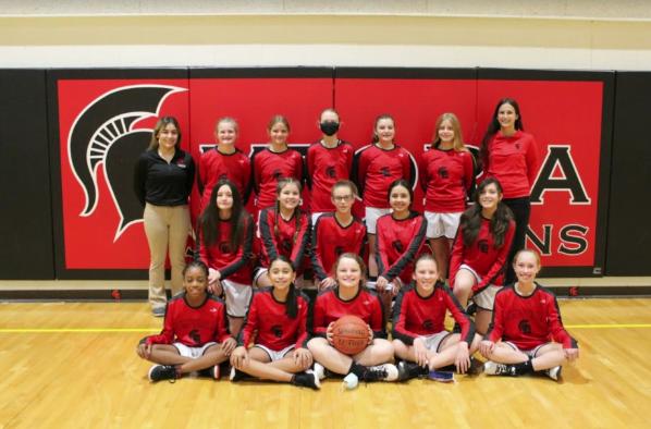 Our Lady Jr. Spartan Basketball team.