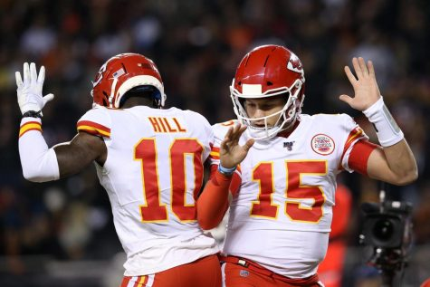 This is Tyreek Hill and Patrick Mahomes doing a celebration dance.