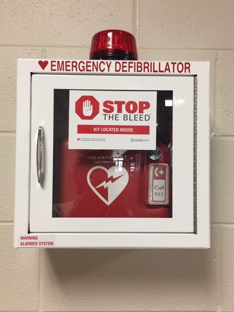 Here at EMS we have defibrillators in case of emergency.