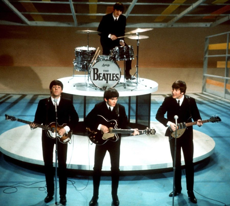 The Beatles performing at the Ed Sullivan show.